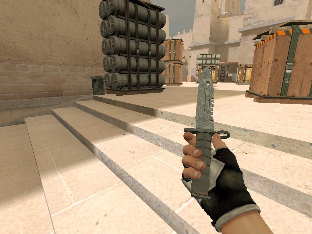 Скачать M9 Штык нож Дамасская сталь
